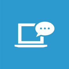 laptop message icon, isolated, white on the blue background.