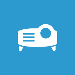 projector icon, isolated, white on the blue background.