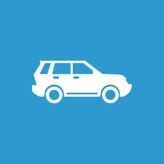 suv icon, isolated, white on the blue background.
