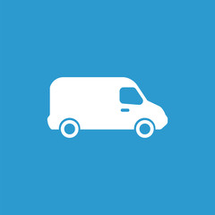 van icon, isolated, white on the blue background.