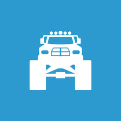 monster car icon, isolated, white on the blue background.