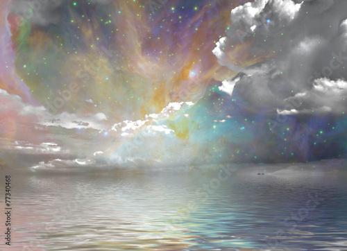 Leinwanddruck Bild Quiet Waters and Starry Sky