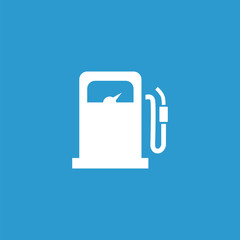 petrol station icon, isolated, white on the blue background.