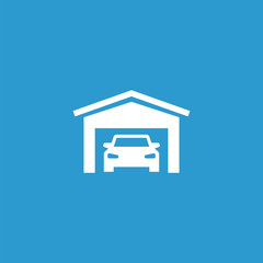 car garage icon, isolated, white on the blue background.