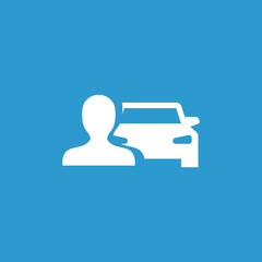 car man icon, isolated, white on the blue background.
