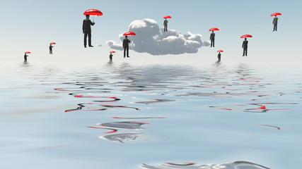 Floating Men with Umbrellas