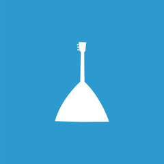 Musical instrument icon, isolated, white on the blue background.