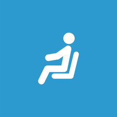 seating man icon, isolated, white on the blue background