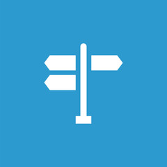 signpost icon, isolated, white on the blue background.