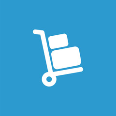 Luggage trolley icon, isolated, white on the blue background.