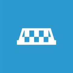 taxi icon, isolated, white on the blue background.
