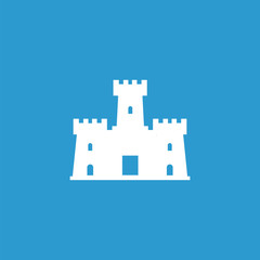 castle icon, isolated, white on the blue background