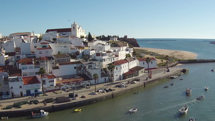 Aerial from the village Ferragudo in Portugal