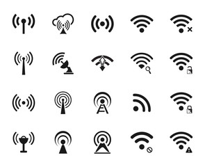Set of twenty different black vector wi-fi and wireless icons