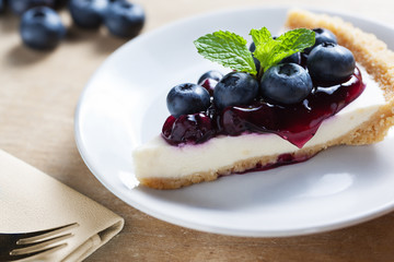 piece of blueberry cheesecake on plate