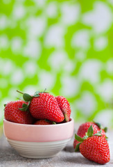 fresh strawberry in small bowl