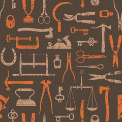 Vintage Tools And Instruments seamless pattern 2