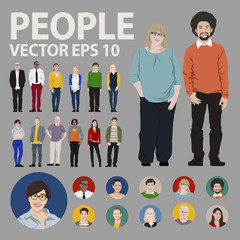 People Icon Set Multiethnic Group Diversity Vector Concept