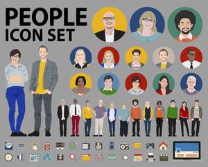 People Icon Set Social Media Vector Concept