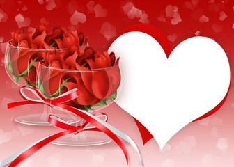 фон с красными розами в бокалах