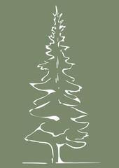 tree, white sketch