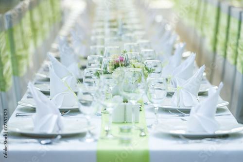Fotobehang Boord Wedding Table And Chairs