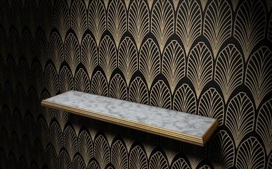 Empty Art Deco Shelf On Wall