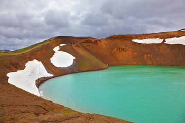 Picturesque lake in the crater