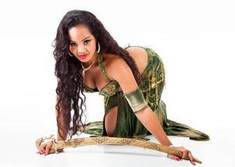 Young belly dancer  with sword