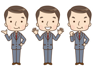 男性 ビジネスマン 表情 セット