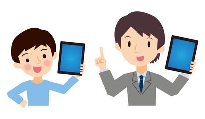 タブレットPCを持つ先生と生徒