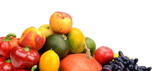 assortment of fresh fruits and vegetables isolated on white
