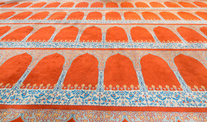 Perspective view of carpet inside blue mosque, Istanbul