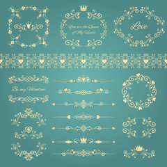 Floral design decoration elements set of vintage frames