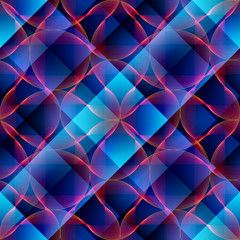 Abstract waves on plaid background.