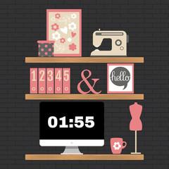 Illustration of modern home office workspace.