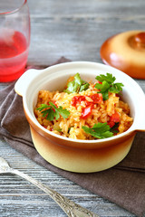 Tasty pilaf in a pot
