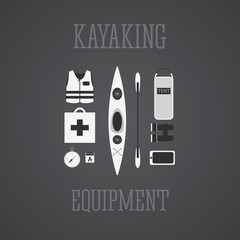 Kayaking equipment icons set. Kayak illustration on a grayscale