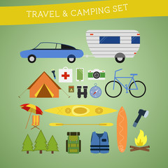 Bright cartoon travel and camping equipment icon set in vector.