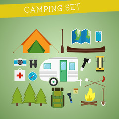 Bright cartoon camping equipment icon set in vector. Recreation,