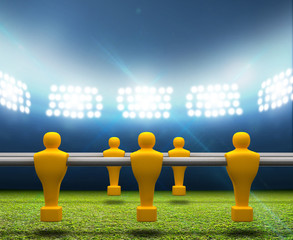Floodlit Stadium With Foosball Players