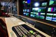 Leinwanddruck Bild - Remote control in a television studio recording.