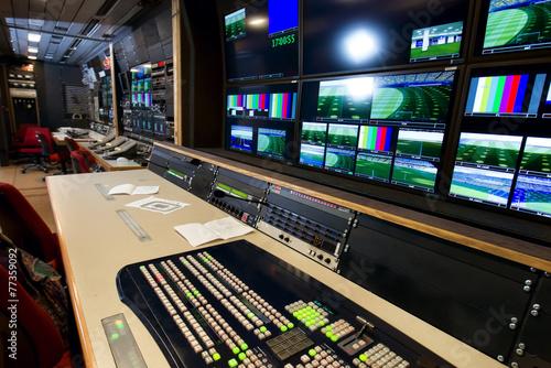 Leinwanddruck Bild Remote control in a television studio recording.