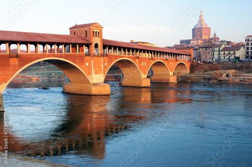 Leinwanddruck Bild Pavia Ponte Coperto