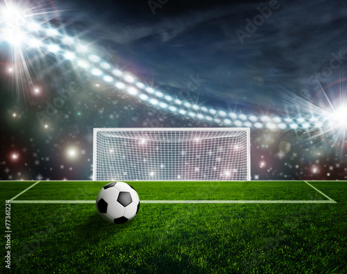 Foto op Canvas Stadion Soccer ball on green stadium arena