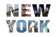 Letters NEW YORK photo collage isolated on white background