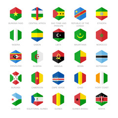 Africa Flag Icons. Hexagon Flat Design.