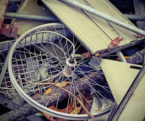 wheel of a bike in the container