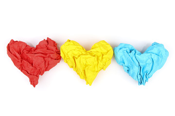 Valentine's Day. Heart from crumpled paper