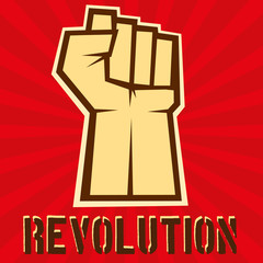 Concept of revolution. Hund up on red background, vector